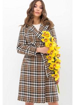 Прямое демисезонное пальто на потайных кнопках, коричневый в черно-белую лапку