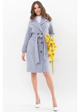 Двубортное пальто прямого силуэта со сьемным поясом, серый