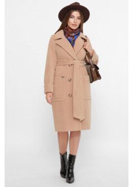 Двубортное пальто прямого силуэта со сьемным поясом, беж