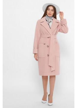 Двубортное пальто прямого силуэта со сьемным поясом, пудра