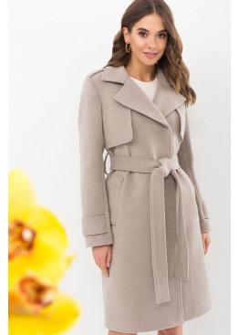 Демисезонное приталенное пальто П-405-100, светлый беж