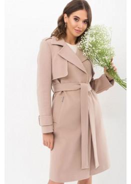 Демисезонное приталенное пальто П-405-100, беж