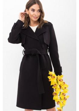 Демисезонное приталенное пальто П-405-100, черный