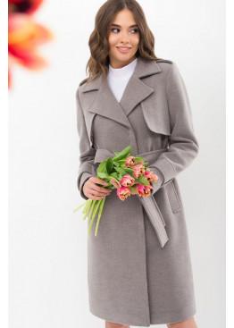 Демисезонное приталенное пальто П-405-100, серый