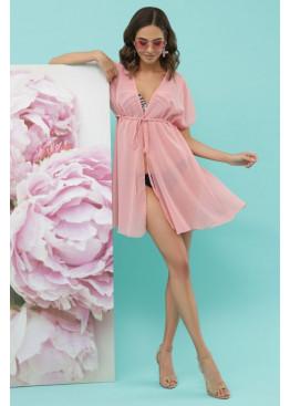 Пляжная шифоновая туника №1-1 розового цвета