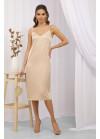 Платье миди в бельевом стиле Росава на бретелях, беж