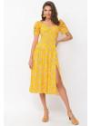 Платье миди Никси с разрезом, желтое в мелкий цветок