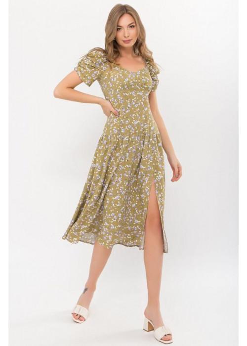 Платье миди Никси с разрезом, оливка в сиреневые розы