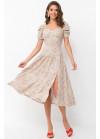Платье миди Никси с разрезом, беж в цветы