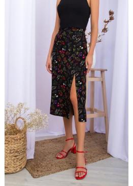 Летняя юбка из штапеля с разрезом сбоку, черная в цветы