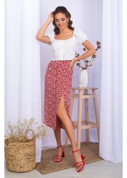Летняя юбка из штапеля с разрезом сбоку, красная в цветы