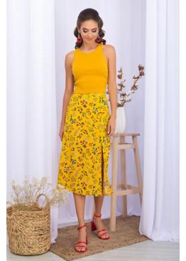 Летняя юбка из штапеля с разрезом сбоку, желтая в цветы