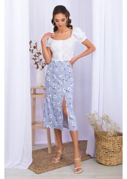 Летняя юбка из штапеля с разрезом сбоку, голубая в цветы