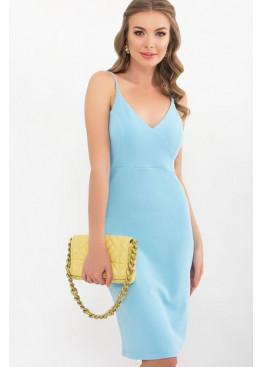 Приталенное платье на тонких бретелях, голубой