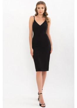 Приталенное платье на тонких бретелях, черный
