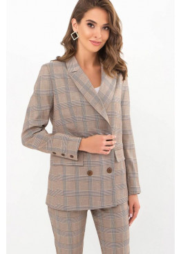 Классический пиджак прямого кроя Элейн, коричнево-синяя клетка