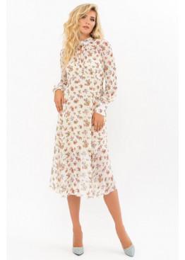 Платье миди Мануэлла прямого силуэта, молоко-букет Роз
