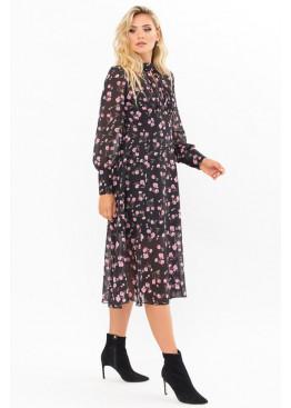 Платье миди Мануэлла прямого силуэта, черный-розовые тюльпаны