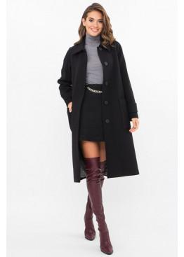 Кашемировое женское пальто приталенного силуэта на пуговицах, П-420-105 черный