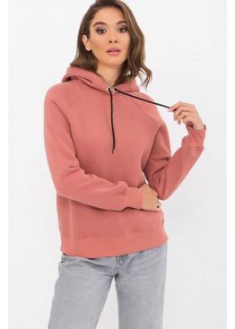 Теплый свитшот с капюшоном Эмиль, розовый персик