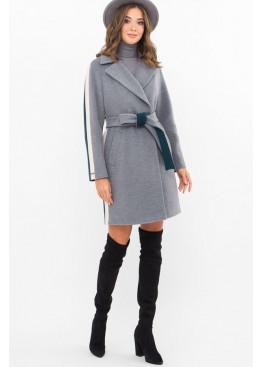 Женское пальто полуприталенного силуэта П-425-90, серый-изумруд