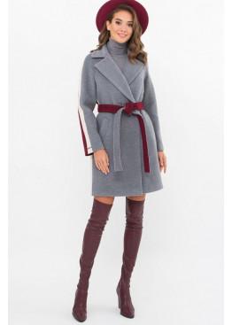 Женское пальто полуприталенного силуэта П-425-90, серый-бордо