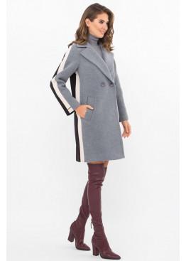 Женское пальто полуприталенного силуэта П-425-90, серый-черный