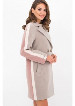 Женское пальто полуприталенного силуэта П-425-90, св.серый-п.роза