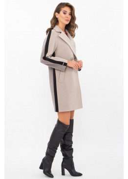 Женское пальто полуприталенного силуэта П-425-90, св.серый-серый