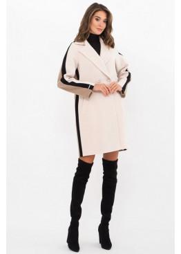 Женское пальто полуприталенного силуэта П-425-90, молоко-бежевый