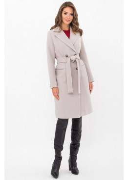 Приталенное женское пальто приталенного силуэта на пуговицах, MS-282-D светлый серый