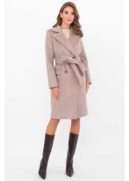 Приталенное женское пальто приталенного силуэта на пуговицах, MS-282-D серо-бежевый