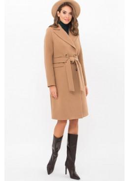 Приталенное женское пальто приталенного силуэта на пуговицах, MS-282-D темный беж