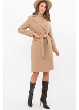 Приталенное женское пальто приталенного силуэта на пуговицах, MS-282-D беж