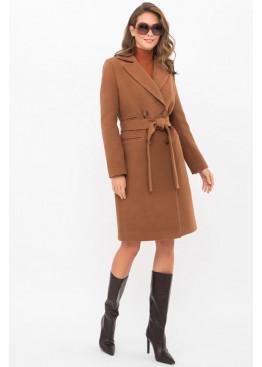 Приталенное женское пальто приталенного силуэта на пуговицах, MS-282-D коричневый