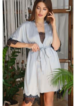 ХАЛАТ шёлковый с кружевом ИЛИНА, серо-голубой