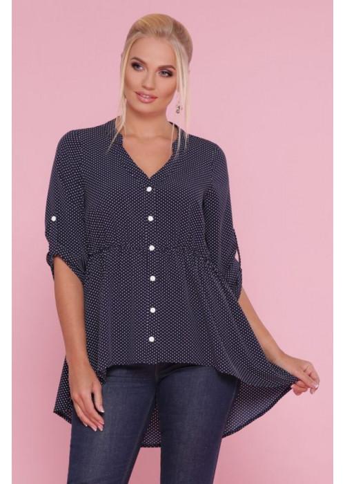 Асимметричная блуза в горох  size+