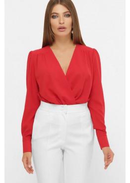 Красная блуза-боди с вырезом на запах и длинными рукавами