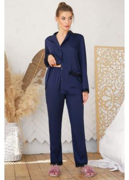 Шёлковые штаны с кружевом Долорес, синие