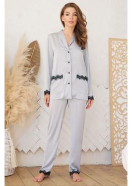 Шёлковые штаны с кружевом Долорес, серые
