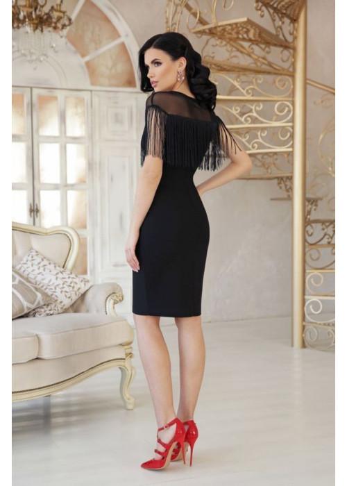 Коктейльное черное платье с бахромой