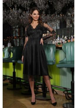Платье миди Велия с рукавами из сетки с набивным горохом