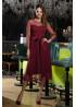 Расклешенное нарядное платье миди бордового цвета Маулина