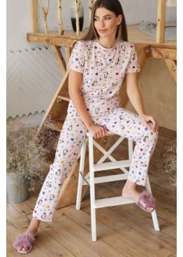Пижамный комплект с брюками Джойс, бежевый-Единорожек