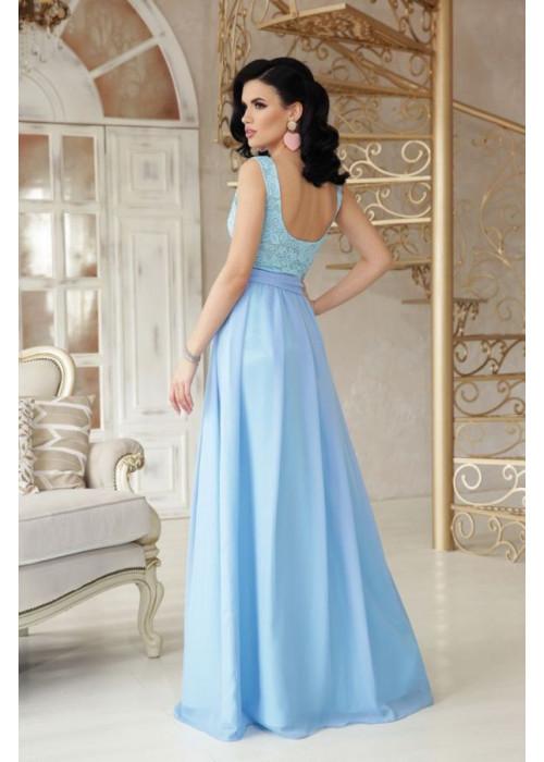 Нарядное голубое платье в пол