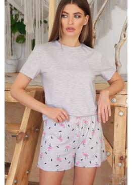 Пижамный комплект Джой2, серый-фламинго