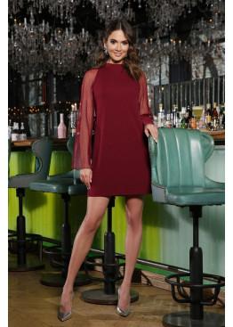 Бордовое платье мини трапеция Вилма, рукава сетка плиссе