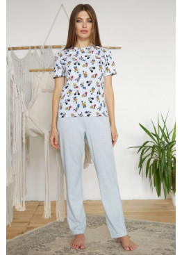 Пижамный комплект с брюками Джойс1, голубой-Микки Маус