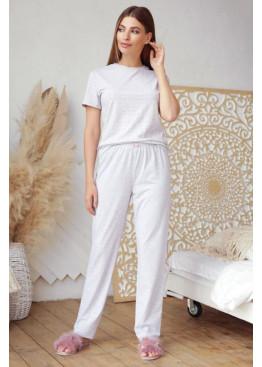 Пижамный комплект с брюками Джойс1, серый-розовые сердца