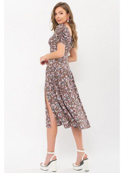 Платье миди Никси с разрезом, капучино с розовым цветком